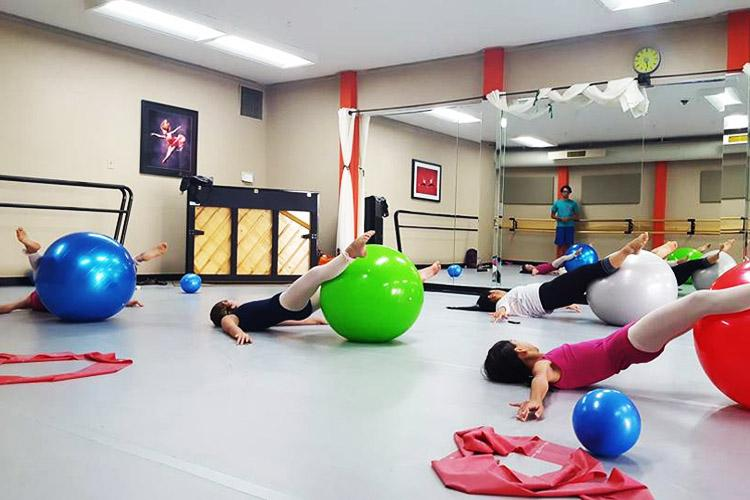 RAD Ballet training with stability ball